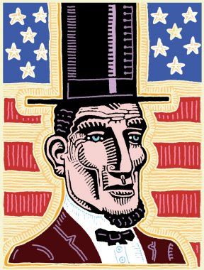 Vector illustration of Abraham Lincoln with the flag of USA in the background