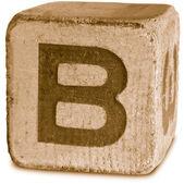Fotografie sépiový dřevěných tiskací písmeno b