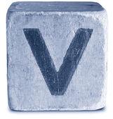 Fotografia fotografia di legno blocco blu lettera v