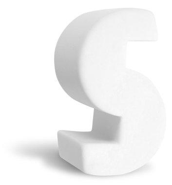 White Dimensional Deco Letter S