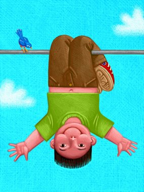 Illustration of Kid Hanging Upside Down