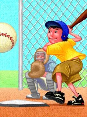 Illustration of Kid Playing Baseball