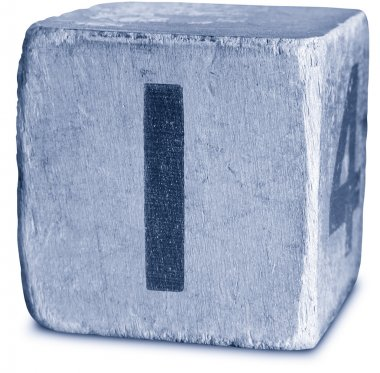 Photograph of Blue Wooden Block Letter I