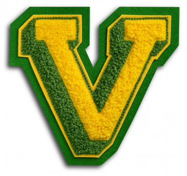 Photograph of School Sports Letter - Green and Yellow V