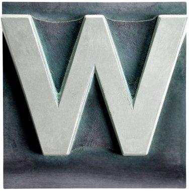 Metal Letterpress Sepia Letter W