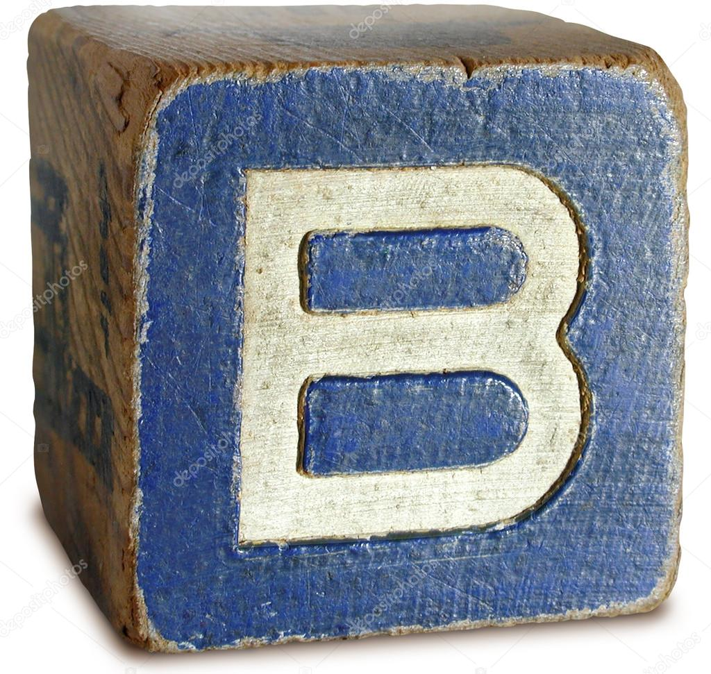 Photograph of Blue Wooden Block Letter B — Stock Photo