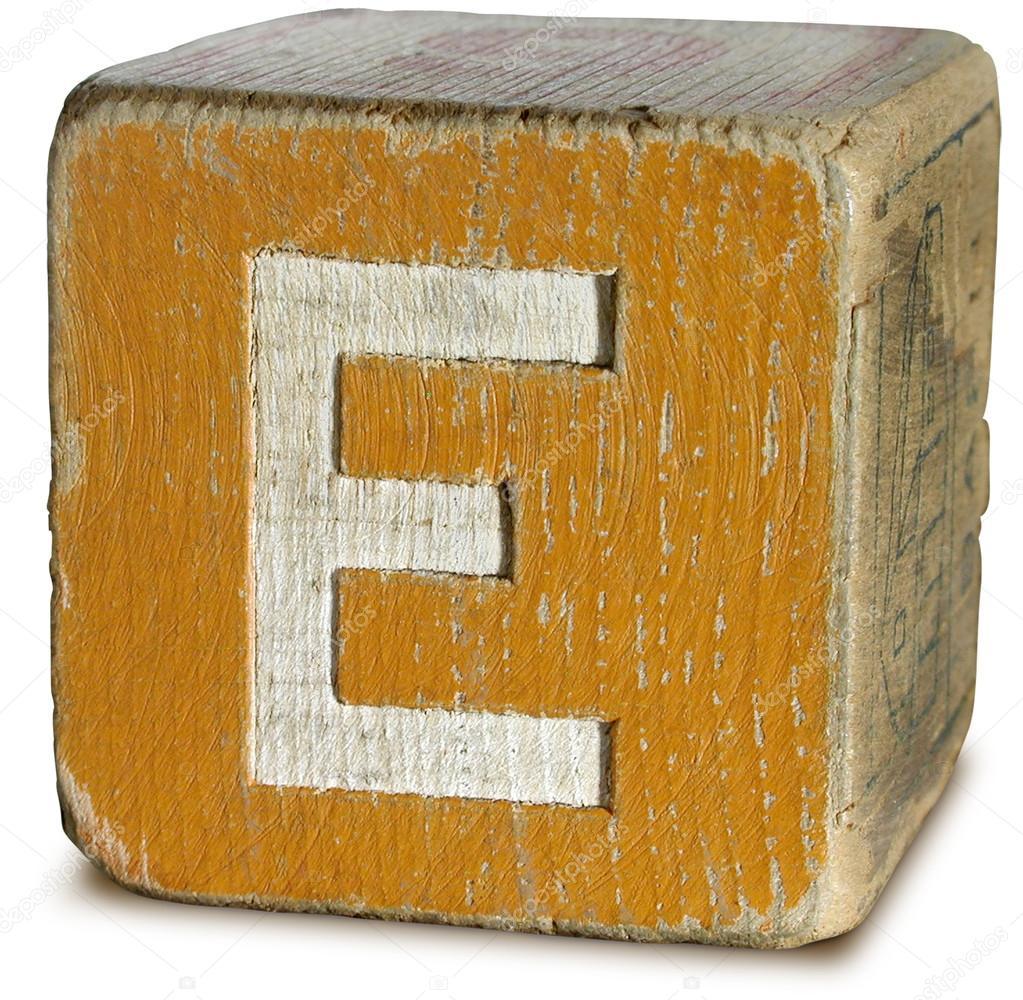 Photograph Of Orange Wooden Block Letter E  Stock Photo  Ronjoe