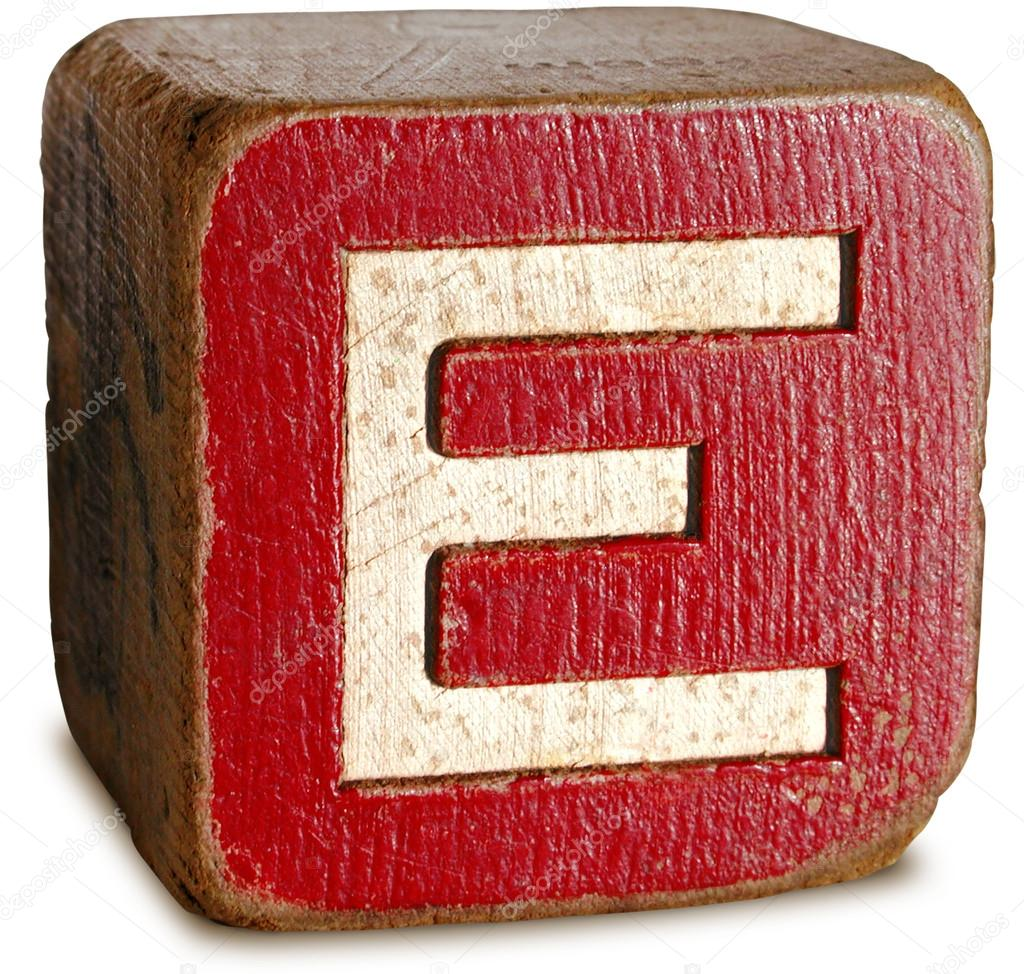 Photograph Of Red Wooden Block Letter E  Stock Photo  Ronjoe