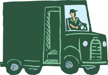 Woodcut Illustration of Man Driving Delivery Truck