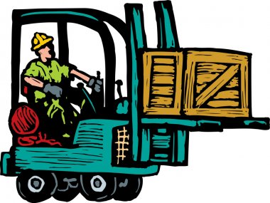 Woodcut Illustration of Forklift with Operator