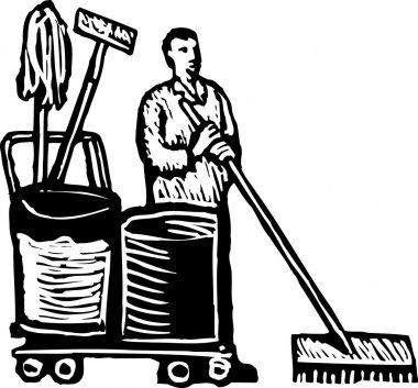Woodcut Illustration of Janitor