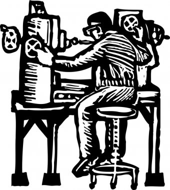 Woodcut Illustration of Machinist