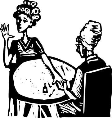 Woodcut Illustration of Manicurist