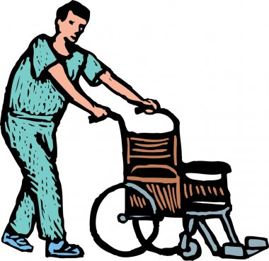 Hospital Orderly or Nurse with Wheelchair