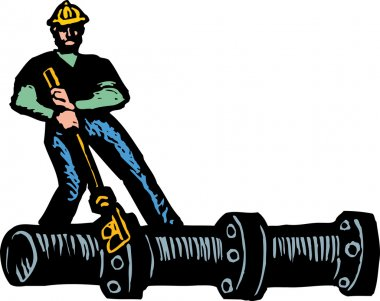 Woodcut Illustration of Pipefitter