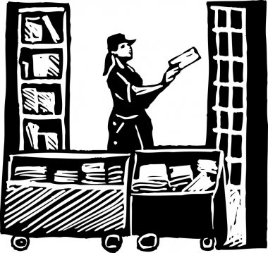 Postal Worker Sorting Mail