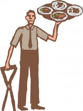 Woodcut Illustration of Waiter