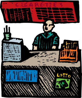 Woodcut Illustration of Cashier at a Convenience Store