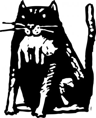 Woodcut illustration of Cat