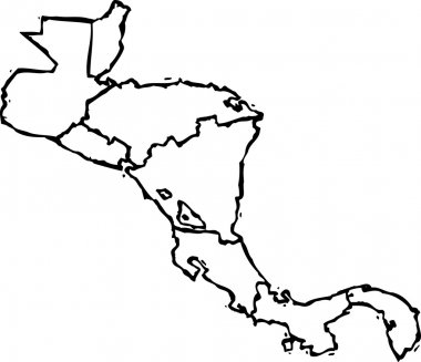 Vector Illustration of Map of Central America