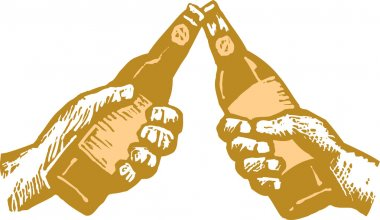 Woodcut Illustration of Two Hands Toasting with Beer