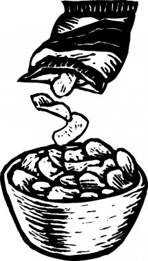 Woodcut Illustration of Bowl and Bag of Potato Chips