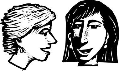 Woodcut Illustration of Women Talking