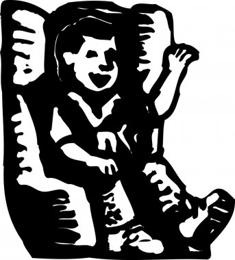 Woodcut Illustration of Little Boy in Car Child Safety Seat