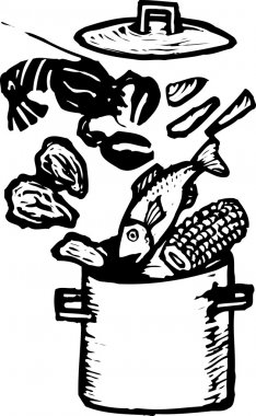 Vector Illustration of Clam Bake Pot with Seafood