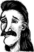 Holzschnitt-Abbildung der älteren Hippie-Mann-Gesicht