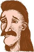 Fotografie Holzschnitt-Illustration eines älteren Hippie-Männchens
