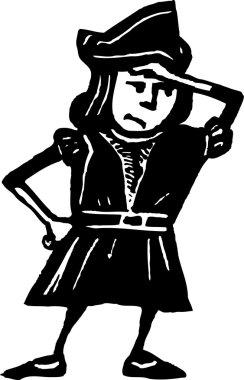 Woodcut Illustration of Child in Christopher Columbus Costume