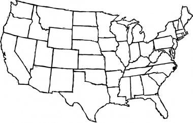 Vector Illustration of Map of Contiguous States