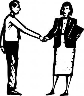 Woodcut Illustration of Man and Woman Shaking Hands