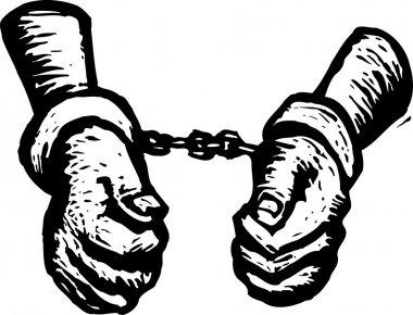 Woodcut Illustration of Handcuffed Criminal or Prisoner