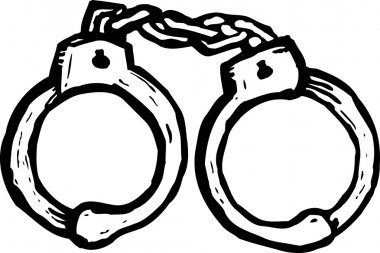Woodcut Illustration of Handcuffs