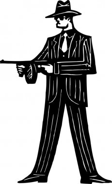 Woodcut Illustration of 1920s Gangster with Machine Gun