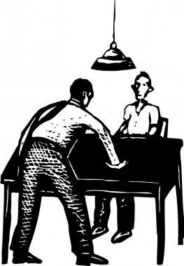 Woodcut Illustration of Police Interrogation