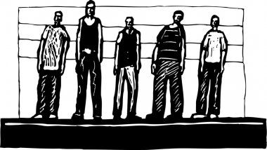 Woodcut Illustration of Criminal Line Up