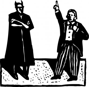 Woodcut Illustration of Devil and Daniel Webster