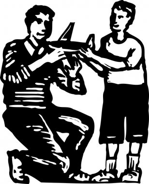 Woodcut Illustration of Father and Son Looking at Model Airplane