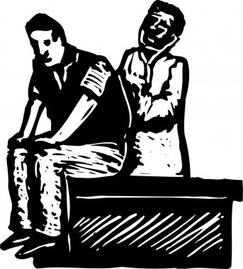 Woodcut Illustration of Male Doctor Examining Patient