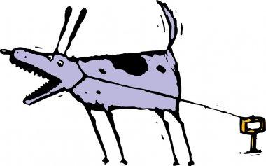 Woodcut Illustration of Dog