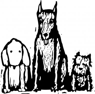 Woodcut Illustration of Dog