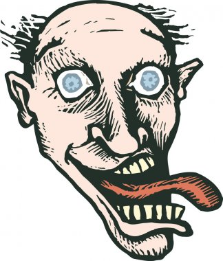 Woodcut Illustration of Crazy Maniacal Man with Tongue Out Face