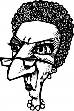 Woodcut Illustration of Uptight Woman Librarian Face