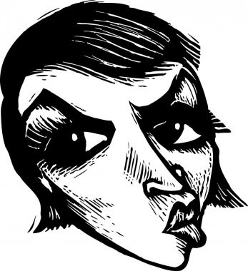 Woodcut Illustration of Angry Woman Face