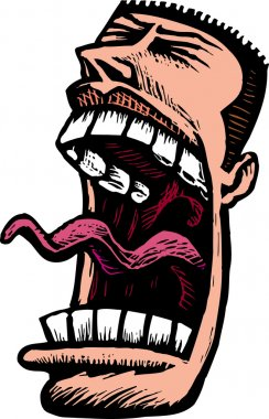 Woodcut Illustration of Angry Man Screaming Face