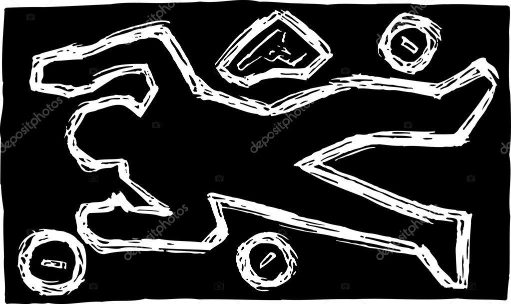 Woodcut Illustration Of Chalk Outline Dead Body At Crime Scene Stock Vector
