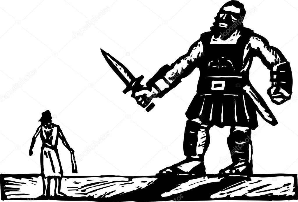 Vector Illustration Of David And Goliath Stock Vector C Ronjoe